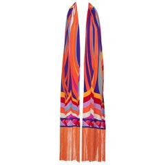 Leonard Paris Orange Multicolored Print Silk Jersey Fringe Shawl / Scarf, 1970s