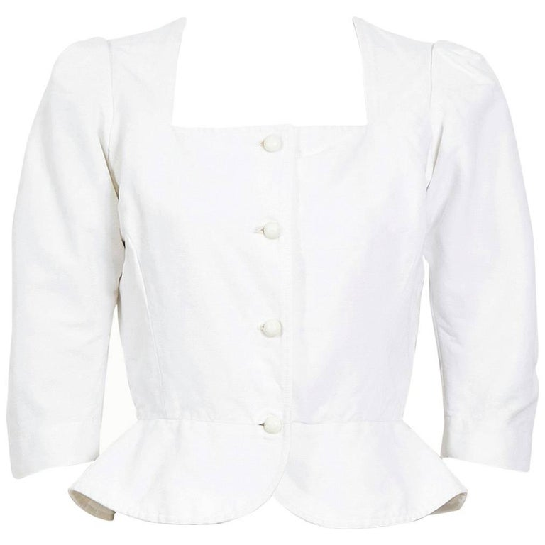 Yves Saint Laurent white fitted cotton peasant top, 1970s