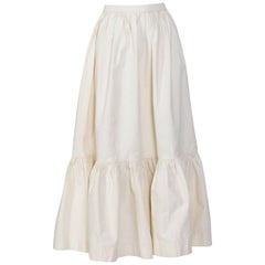 Yves Saint Laurent 1970s vintage cream white cotton boho skirt
