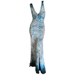 Roberto Cavalli Vintage Snake Print Ruched Low Cut Evening Dress