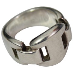 Hermes Good Ring in Sterling Silver Size French 52