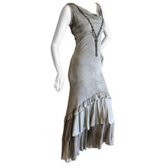 Roberto Cavalli Just Cavalli Vintage Gray Ruffle Beaded Necklace Evening Dress