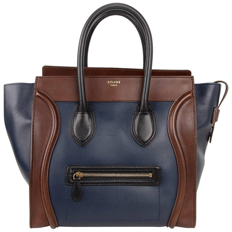 Celine Phantom Medium Tri Colour Navy Brown Black Luggage Tote Bag