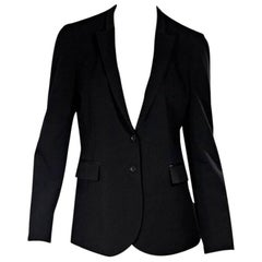 Black Gucci Leather-Trimmed Blazer