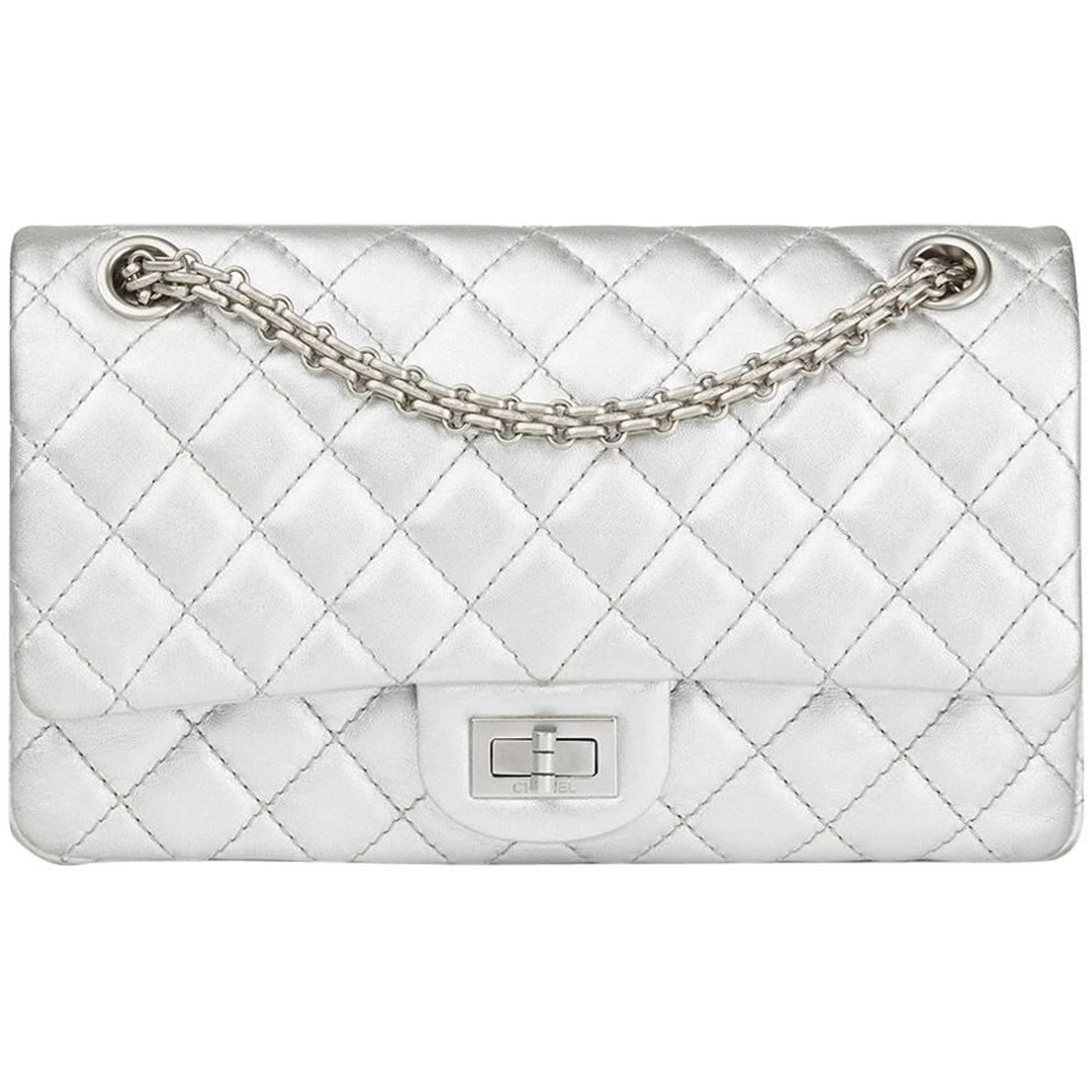 57d9bd4abdd8 Chanel Silver Quilted Metallic Lambskin 2.55 Reissue 225 Double Flap Bag,  2009 at 1stdibs