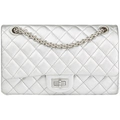 Chanel Silver Quilted Metallic Lambskin 2.55 Reissue 225 Double Flap Bag, 2009