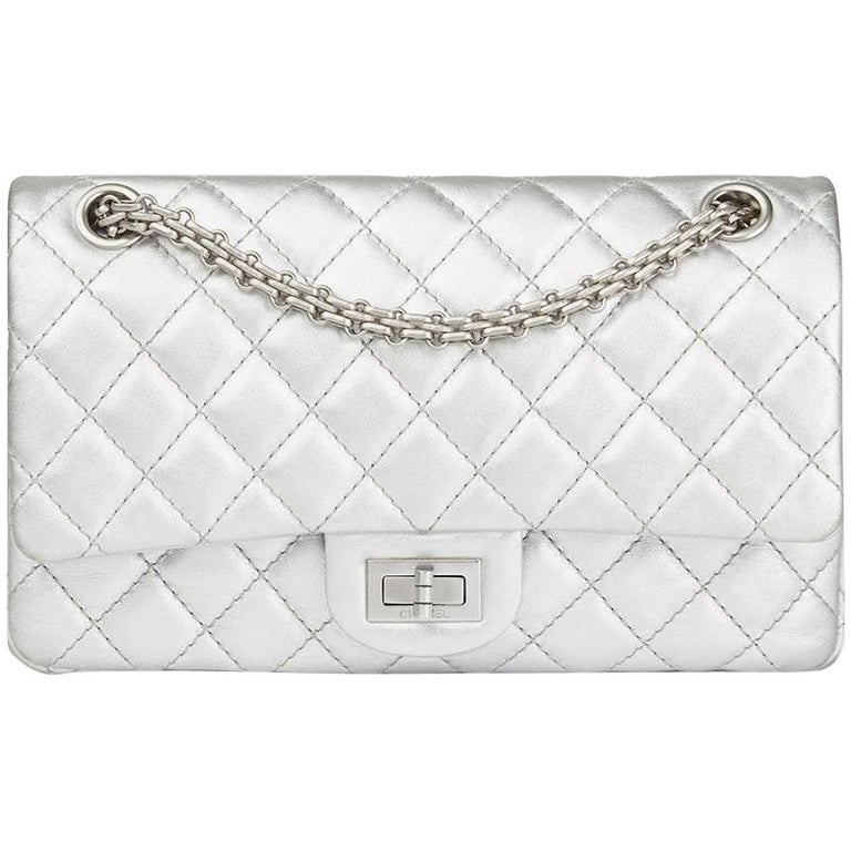 e9bd8865d560 Chanel Silver Quilted Metallic Lambskin 2.55 Reissue 225 Double Flap Bag,  2009 For Sale.