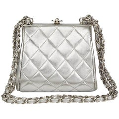 Chanel Silver Quilted Metallic Lambskin Vintage Mini Timeless Frame Bag, 1996