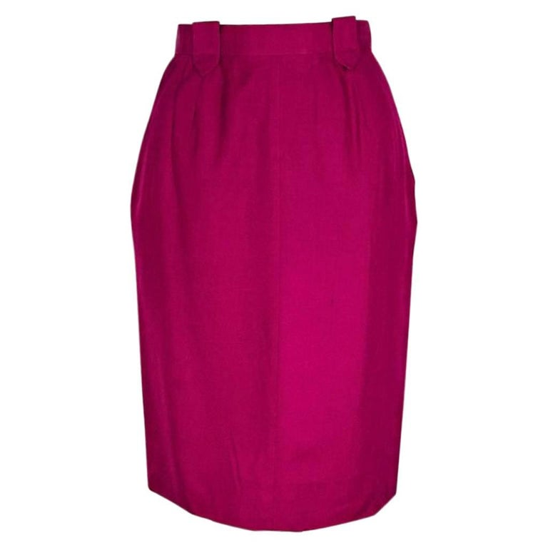 Raspberry Vintage Chanel Pencil Skirt