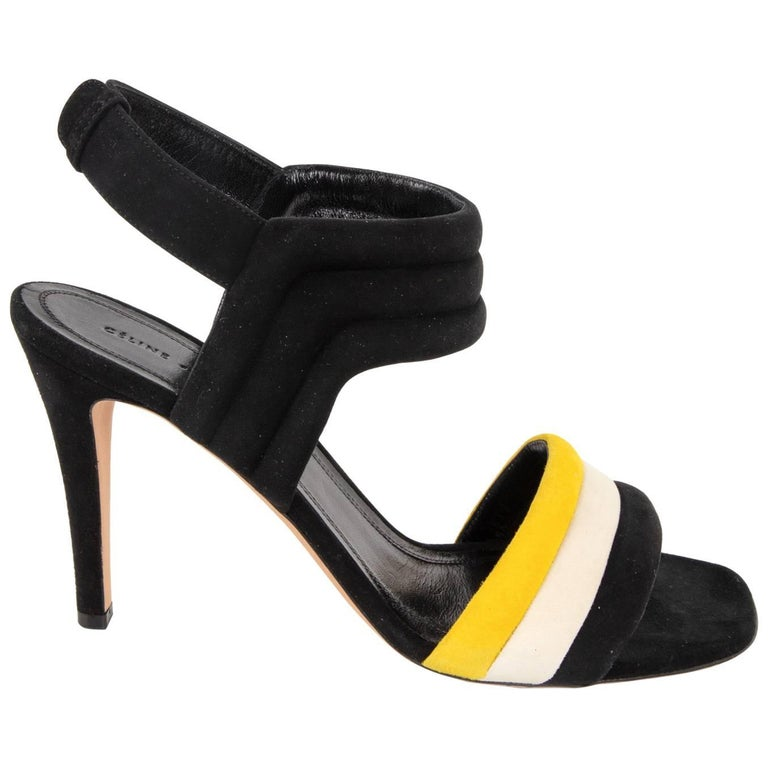 ea501164443831 Celine Shoes Black Yellow and White Padded Suede Sandal 39.5 New For Sale