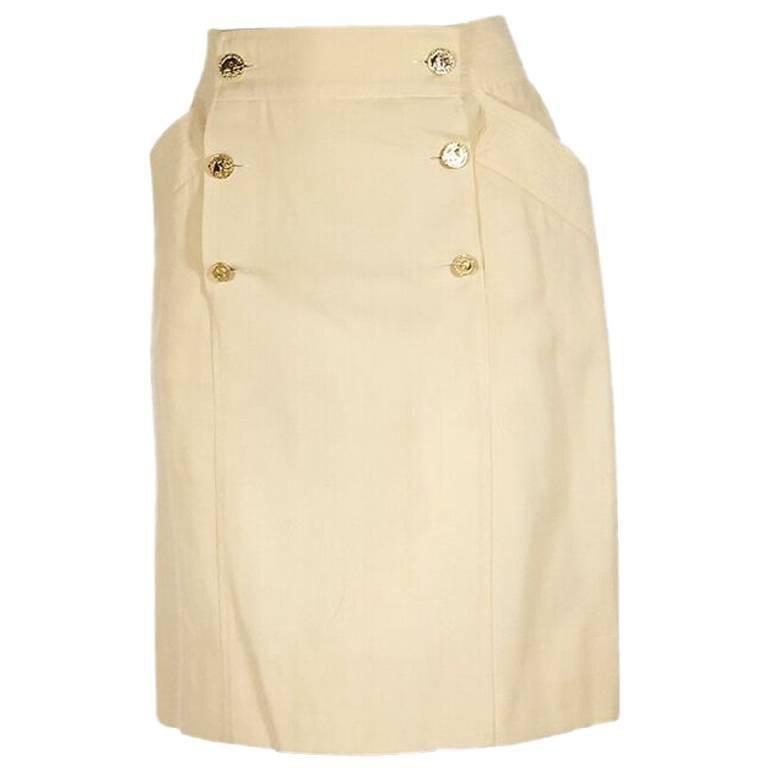 Cream Vintage Chanel Sailor Button Skirt