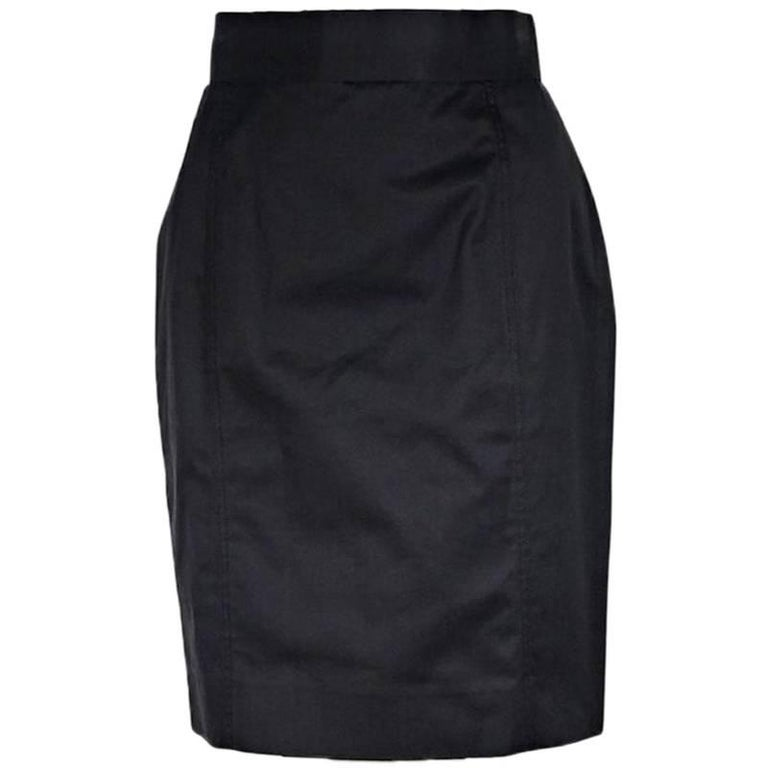Black Vintage Chanel Cotton Skirt