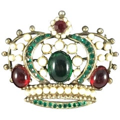 Weiss Crown Brooch Pendant 1950s