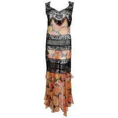 1930's Marigold Floral Print Silk-Chiffon & Black Lace Illusion Tiered Gown