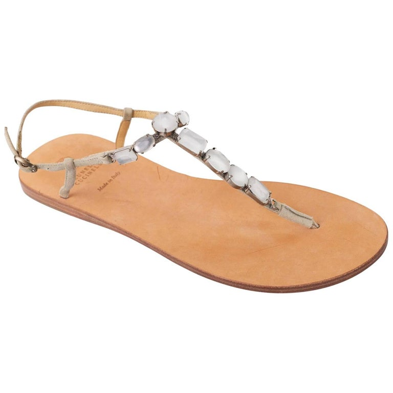 bee77c615ff Brunello Cucinelli Women s Luxurious Stone Beaded Thong Sandals For Sale