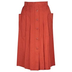 Orange Vintage Gucci Pleated Skirt