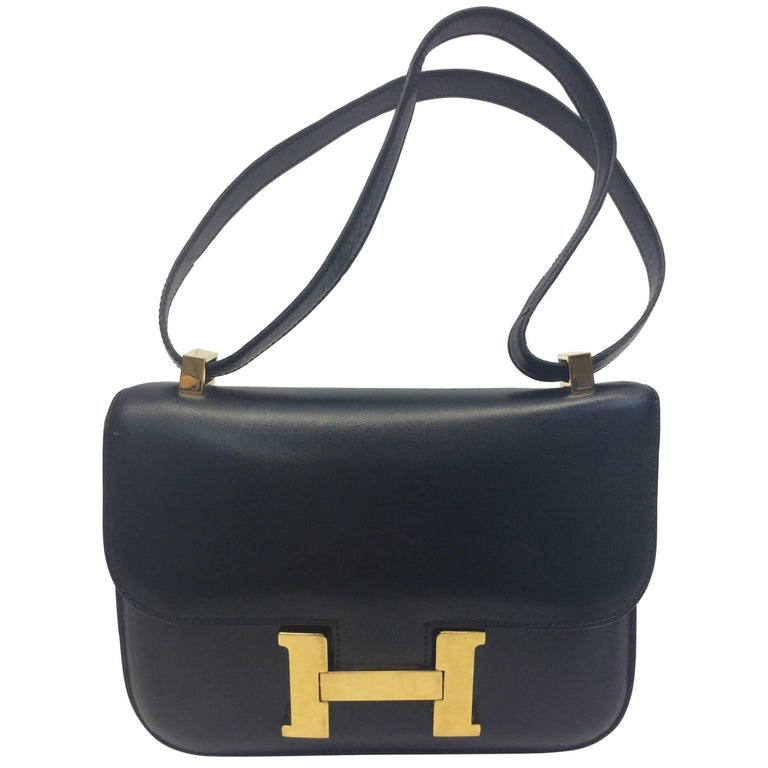 Hermes Vintage Leather Black Constance Shoulder Bag