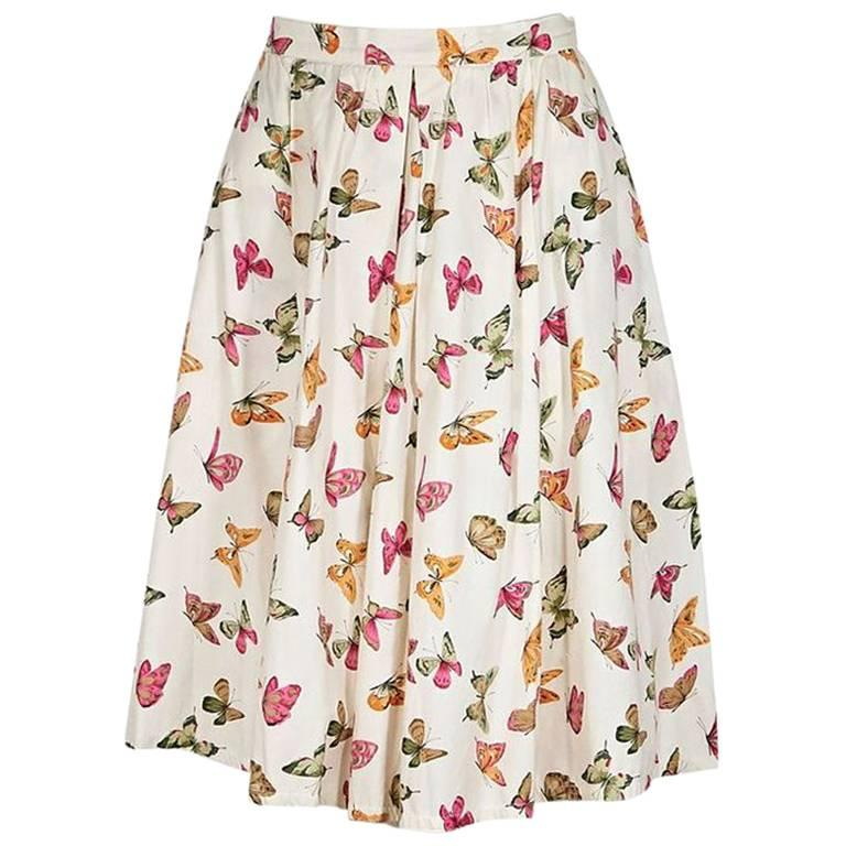 Multicolor Vintage Gucci Butterfly A-Line Skirt