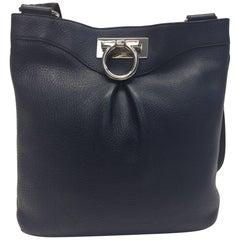 Salvatore Ferragamo Navy Leather Crossbody Bag