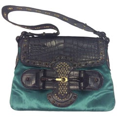Gucci Tom Ford Crocodile and Velvet Horsebit Shoulder Bag