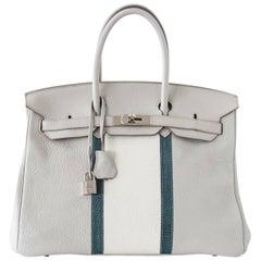 Hermes Gris Perle Club Mykonos Lizard White Togo Palladium Birkin 35 Bag