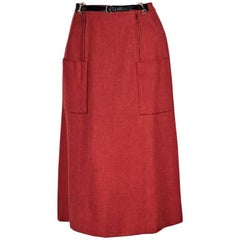 Red Vintage Hermes Belt-Front Skirt