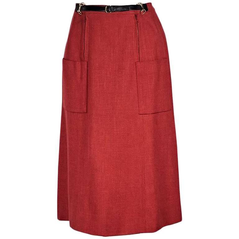 Red Vintage Hermes Belt-Front Skirt