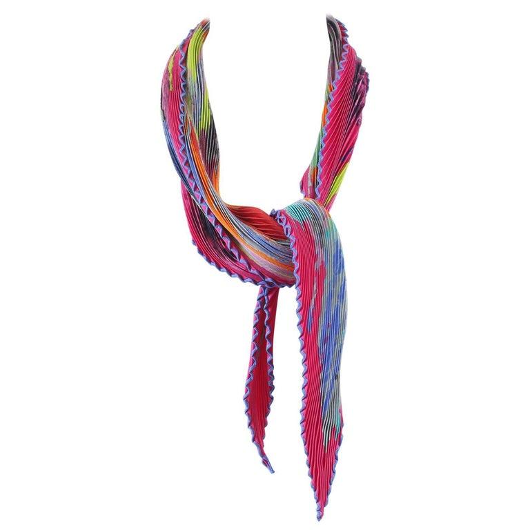 Hermès Multicolor Silk Plisse Scarf
