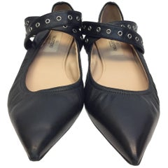 Valentino Black Leather Flats