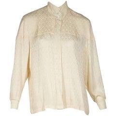 Ivory Vintage Hermes Silk Blouse