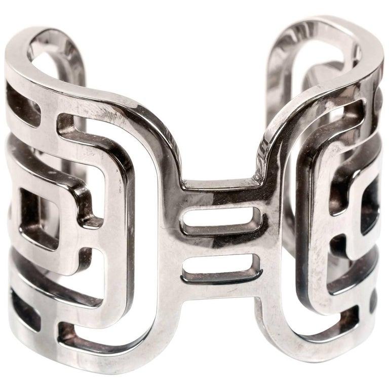 Hermès Sterling Silver Aztec Cuff Bracelet  For Sale