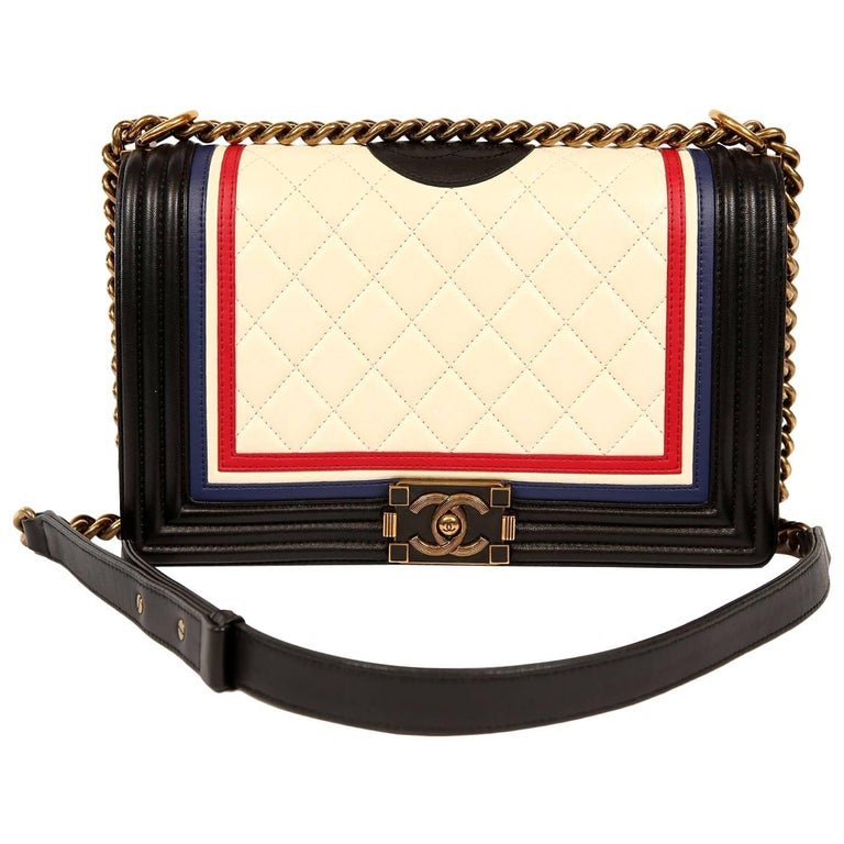 Chanel Cream and Black Leather Special Edition Boy Bag