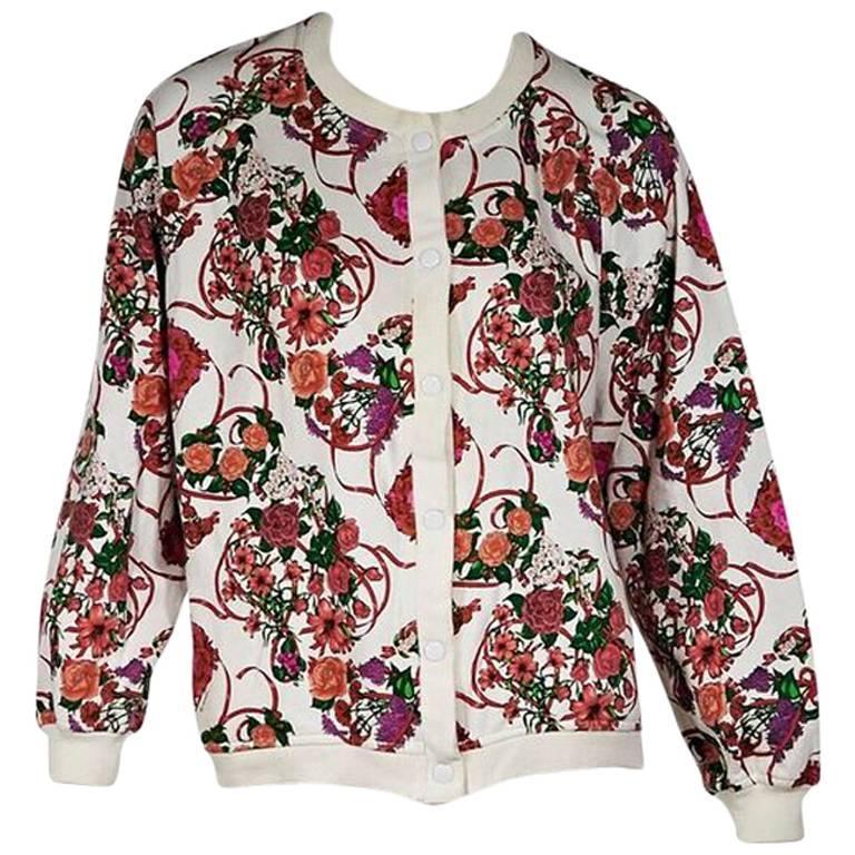 Multicolor Vintage Hermes Floral-Printed Jacket