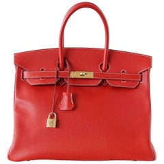 Hermes Rouge Casaque Candy Limited Edition Epsom Gold Birkin 35 Bag