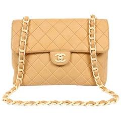 Chanel Beige Lambskin and Bakelite Vintage Classic Flap Bag
