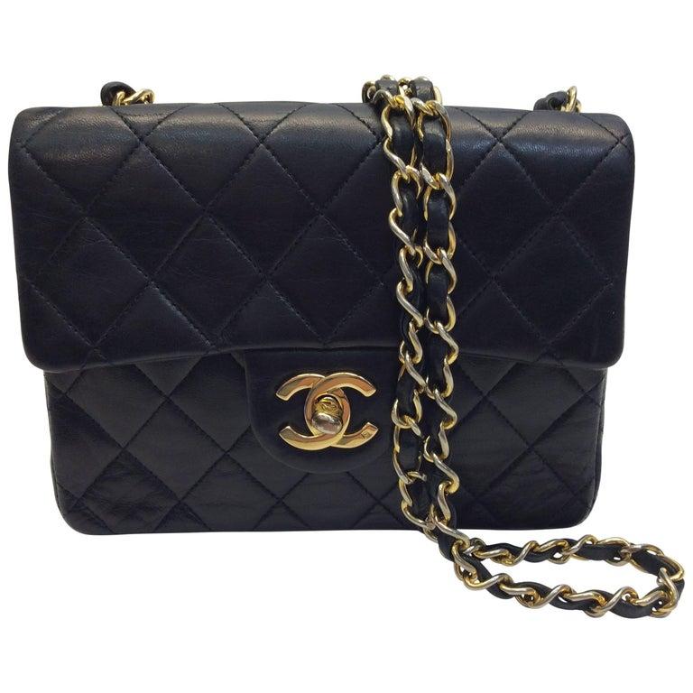 Chanel Black Leather Mini Flap Purse