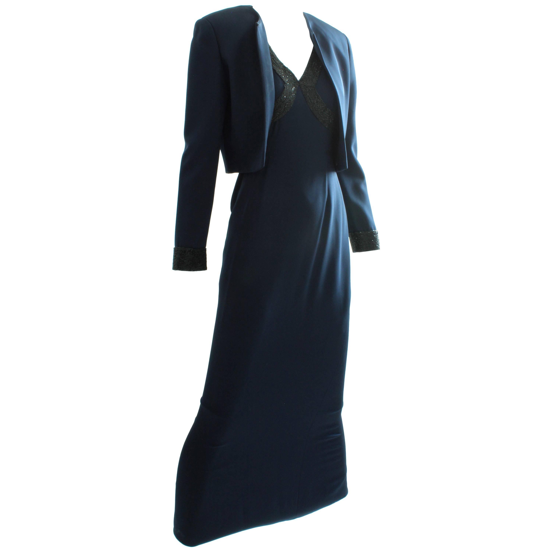 Pamela Dennis Beaded Navy Silk Evening Dress with Cropped Jacket 2pc Set Sz 4