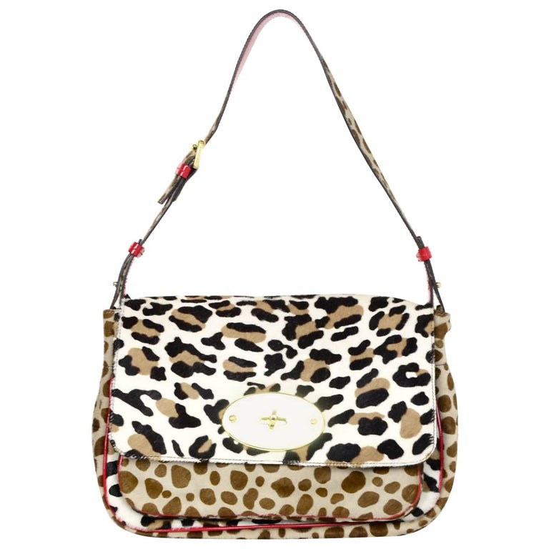 Mulberry Ponyhair Leopard Print Shoulder Bag
