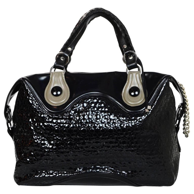 Pauric Sweeney Black Patent Large Handle Bag