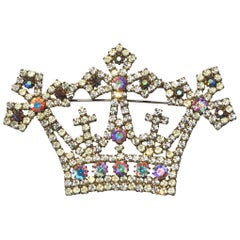 70s Kenneth Jay Lane Oversized Crown Brooch / Royal