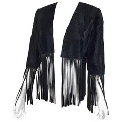 Bisang Couture Broadtail Jacket with Leather Fringe