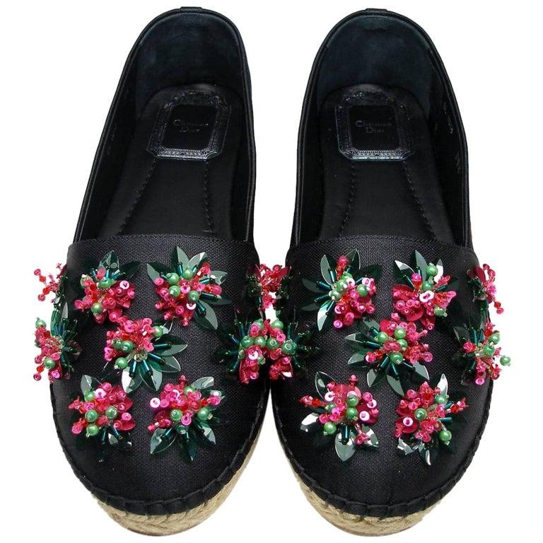 Christian Dior Embellished Espadrille Black Flats