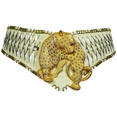 Jose Cotel Vintage Leopard Woven Leather Belt