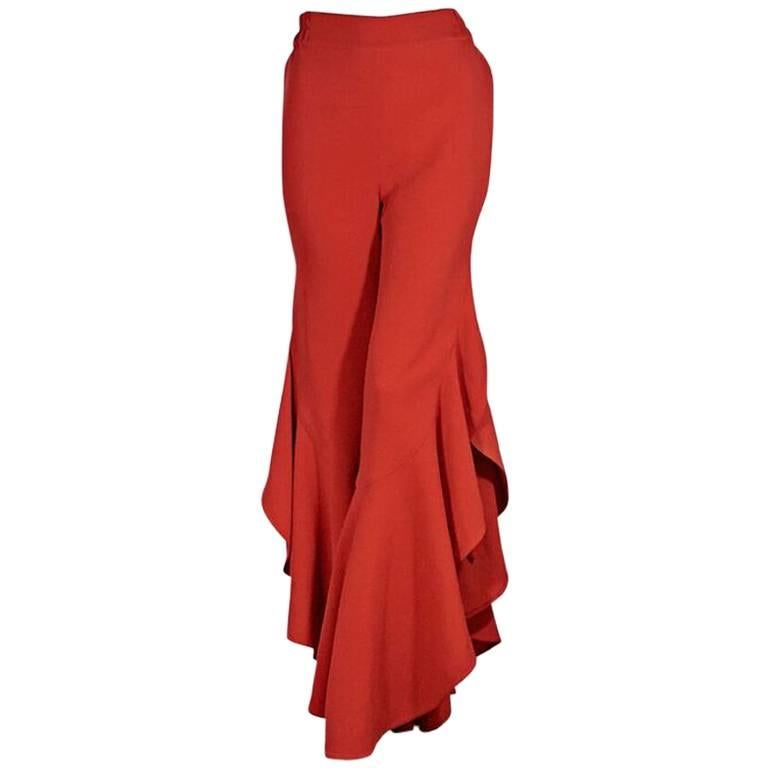 Red Jonathan Simkhai Flared Ruffle Pants For Sale