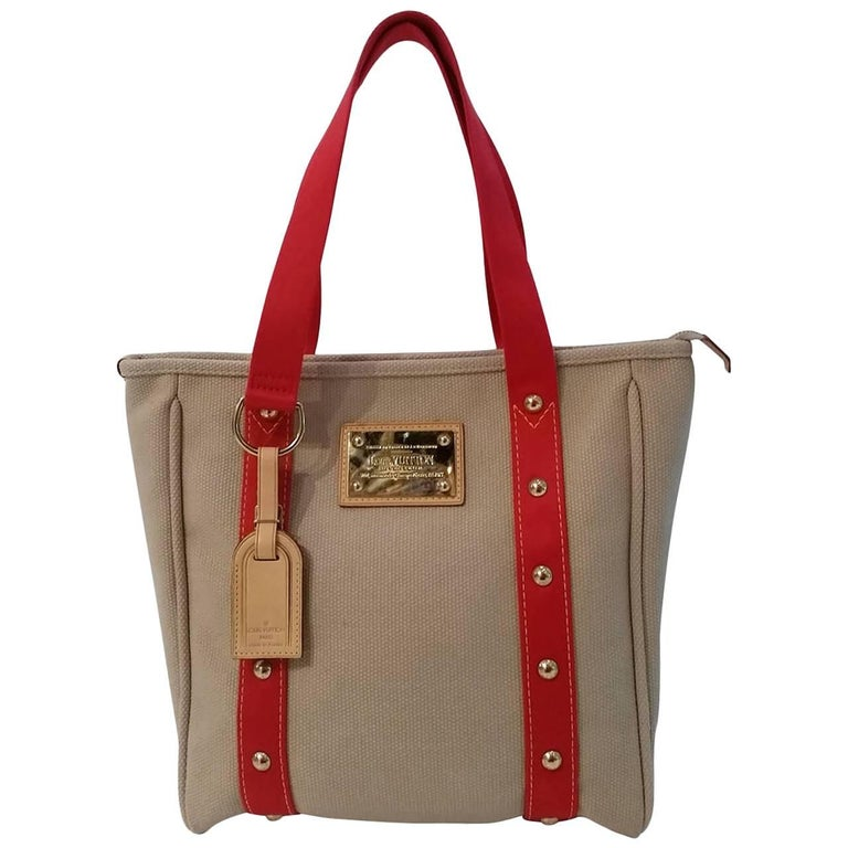 2000s Louis Vuitton Cabas beije and red bag