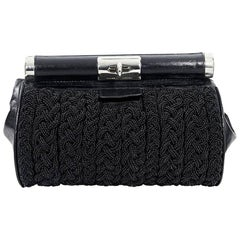 Black Dries van Noten Beaded & Leather Clutch