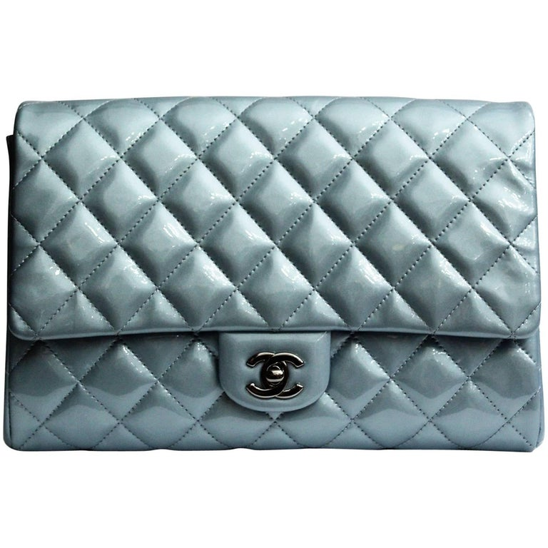 Chanel Light Blue Quilted Patent Leather Timeless Clutch Bag