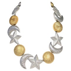 Christian Dior Sun, Moon, Stars Necklace Bracelet and Earring Set 1980's