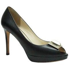 Emilio Pucci Peep Toe Black Shoe w/ Silver Embellishment  - 39