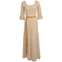 1970's Lace Maxi Dress with Braided Metallic Gold Belt